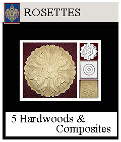rosettes round and square, for interior and exterior decoration