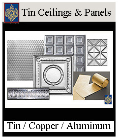 Metal ceiling panels in copper, tin, aluminum, custom designs available