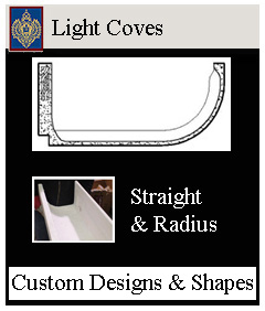 Light coves or troughs, radius curved or straight many styles